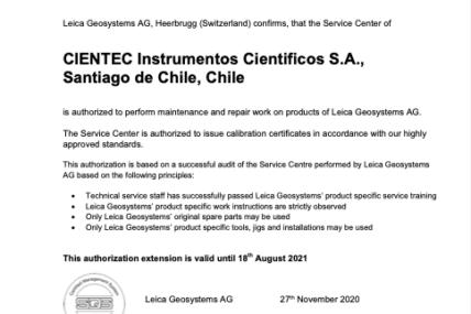 Único servicio técnico certificado en Chile por Leica
